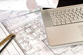 Project management - laptop and schematics